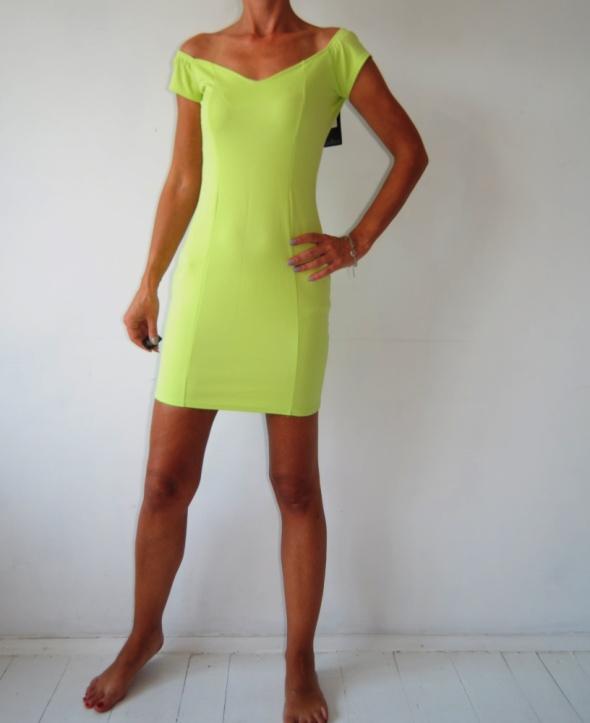 Missguided limonkowa mini sukienka