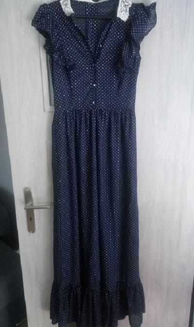 Suknie i sukienki długa sukienka grochy