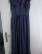 długa sukienka grochy