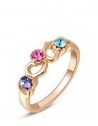 Nowy pierścionek złoty kolor różowe złoto oczka niebieskie fioletowe róż