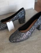Mango nowe brokatowe pantofelki srebrne baleriny balerinki 38...