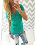 Zielona bluzeczka marszczone rękawki bufki 36 38