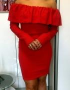 Sukienka Czerwona Hiszpanka z falbanka długi rękaw