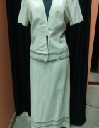 Komplet garsonka kostium żakiet spódnica lniany lniana Zender 38