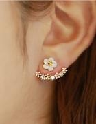 Kolczyki złote za ucho cyrkonie kwiatek kwiatuszki