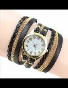 Zegarek damski zawijany długi łańcuszek czarny