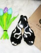 czarne meliski baleriny open toe...