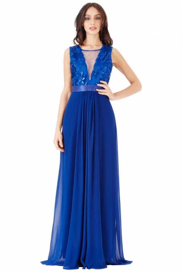 ab61f9fa6b Kobaltowa szyfonowa długa sukienka na sylwestra w Suknie i sukienki ...