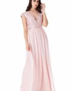 Pudrowa szyfonowa długa sukienka na wesele z głębokim dekoltem ...