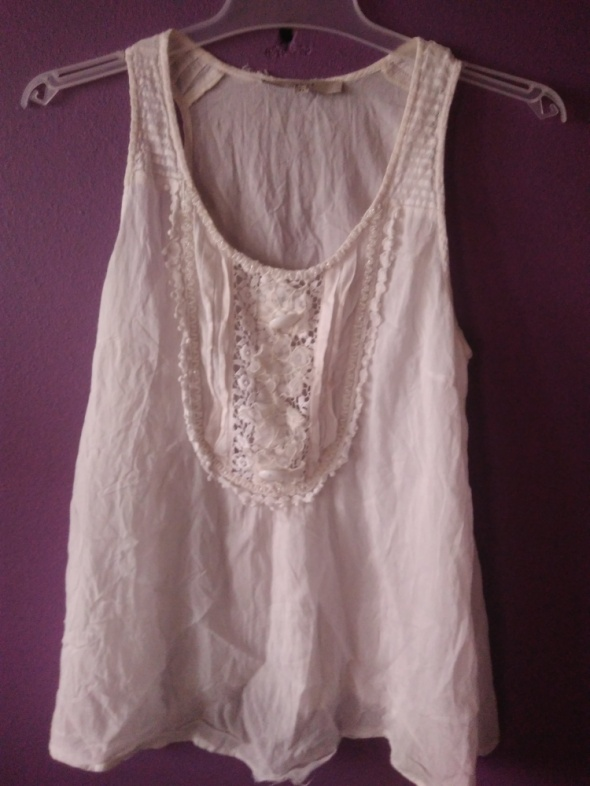 biała bluzka boho lato mgiełka oversize 38 40 M L