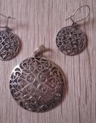 Ażurowy komplet kolczyki i duża zawieszka srebro