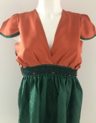 Nowa bluzka jedwab i tafta pomarańczowo zielona