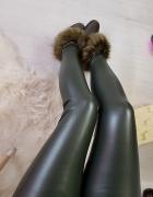Skórzane ocieplane woskowane legginsy