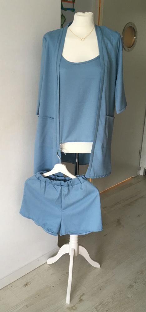 Komplet kostium 3w1 szorty marszczona talia narzutka top 36 S 38 M