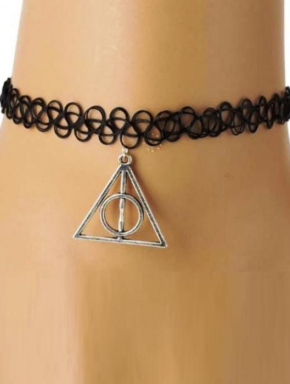 Naszyjnik Tatuaż Czarny Insygnia śmierci Harry Potter W