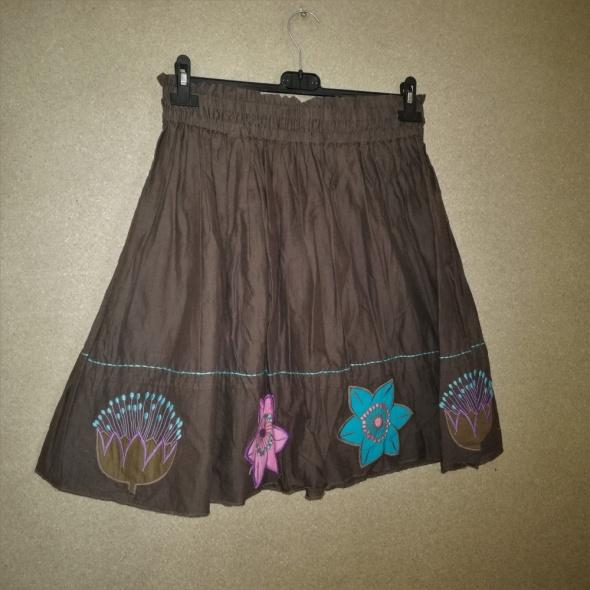 Spódnice Brązowa bawełniana rozkloszowana spódnica 38