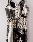 Zwiewna letnia sukienka boho wzory wiązanie ramiączka Atmosphere s m