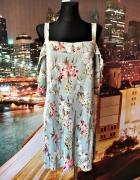 mango sukienka luźny fason plisowana kwiaty 38 M...