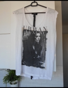 Mango biała koszulka tshirt z nadrukiem print...