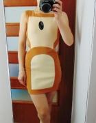 Karmelowa sukienka zip eko skórka