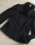 ELEGANCKI czarny kobiecy kostium futro żakiet