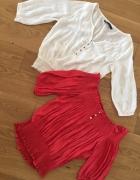 ZARA dwie bluzeczki czerwona i biała M