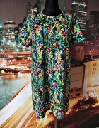 zara sukienka luźny fason kwiaty liście casual 40 L