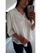NOWA bluzka biała z ażurowymi wstawkami