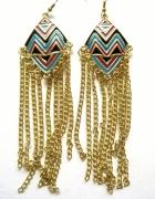 Azteckie kolczyki długie wiszące łańcuszki złote