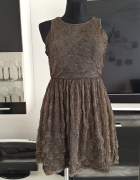 khaki sukienka z siateczki gnieciona Zara