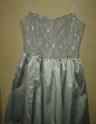 H&M Szara rozkloszowana gorsetowa sukienka midi z koronką 36...