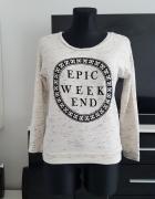 beżowa melanzowa bluza z napisami H&M