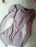 Fioletowy sweterek kokardki uroczy xs s