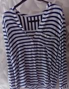 Koszula paski Zara granatowo białe kieszonka