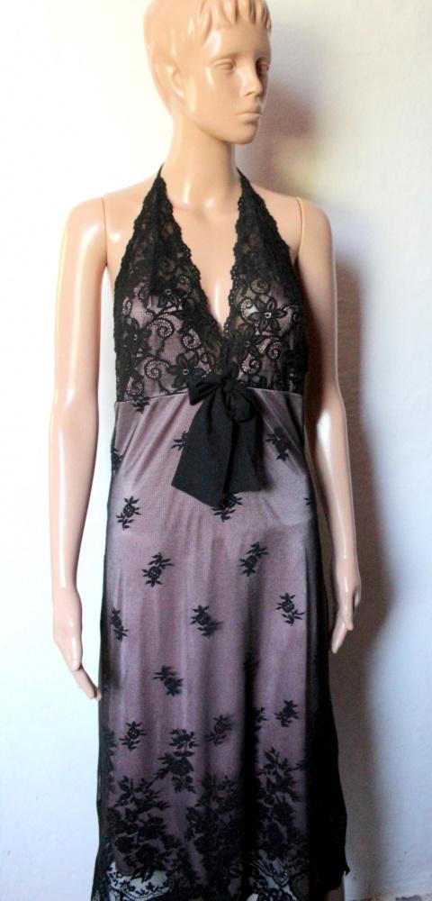 Czarno różowa bieliźniana sukienka nocna koronka r M...