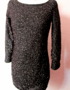 Elegancka koktajlowa sukienka mała czarna r SM