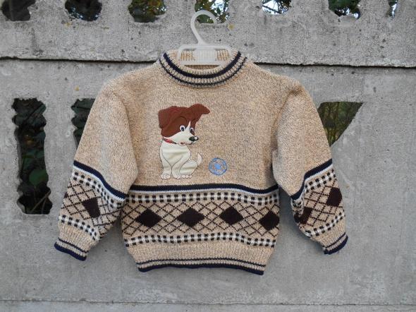 chłopięcy Sweter 92 98 z pieskiem ciepły