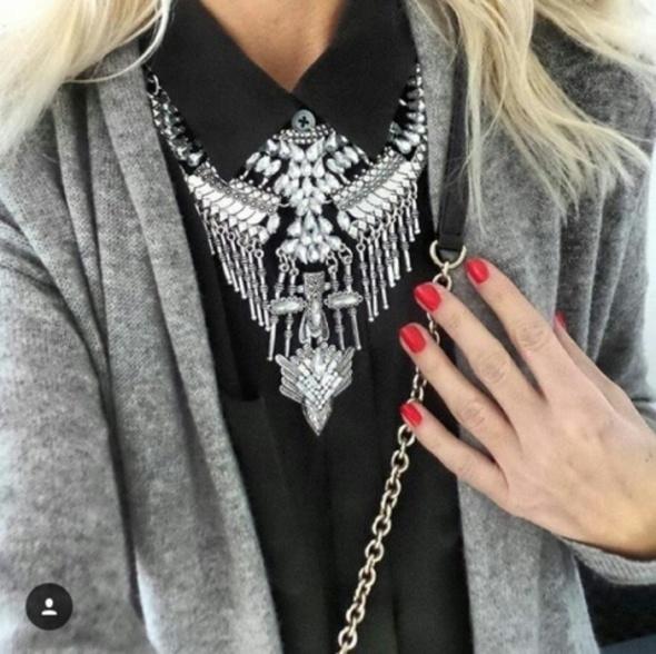 Kolia XXL srebrna z kryształkami RIHANNA duża