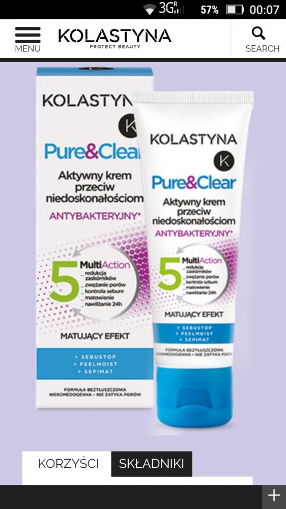 Kolastyna Pure & Clear krem przeciw niedoskonałościom