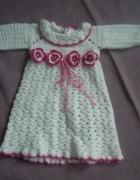 Piękna sukienka dziergana na szydełku chrzest chrzciny...