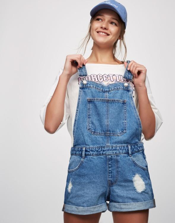 Spodenki ogrodniczki Pull&Bear jeansowe rozmiar XS S...