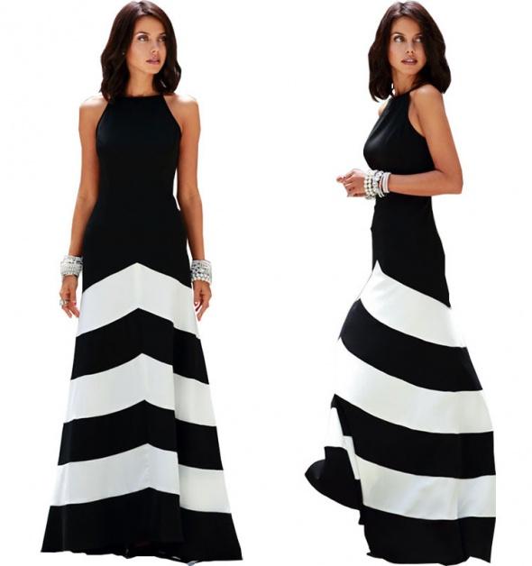 9073859724 Suknie i sukienki Wieczorowa Koktajlowa Długa Sukienka w Paski XL 42