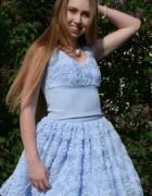 Błękitna spódniczka Róże 3D...