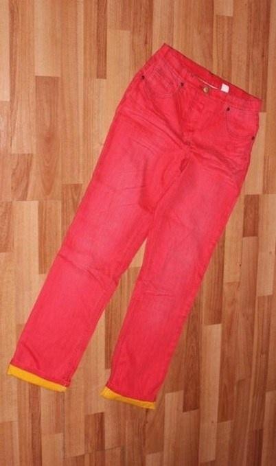 Czerwone gniecione jeansy spodnie NOWE BonPriX 38 M...