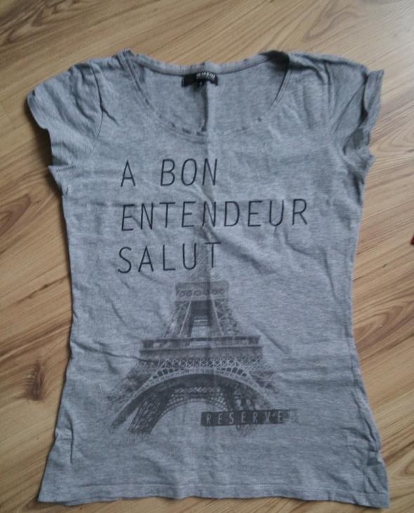 Siwa koszulka z Wieżą Eiffla S 36 Reserved