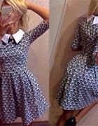 Elegancka rozkloszowana wyszczuplająca sukienka