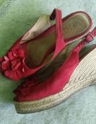 Czerwone koturny damskie buty używane zniszczone...