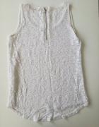 biała koronkowa bluzeczka zip zamek