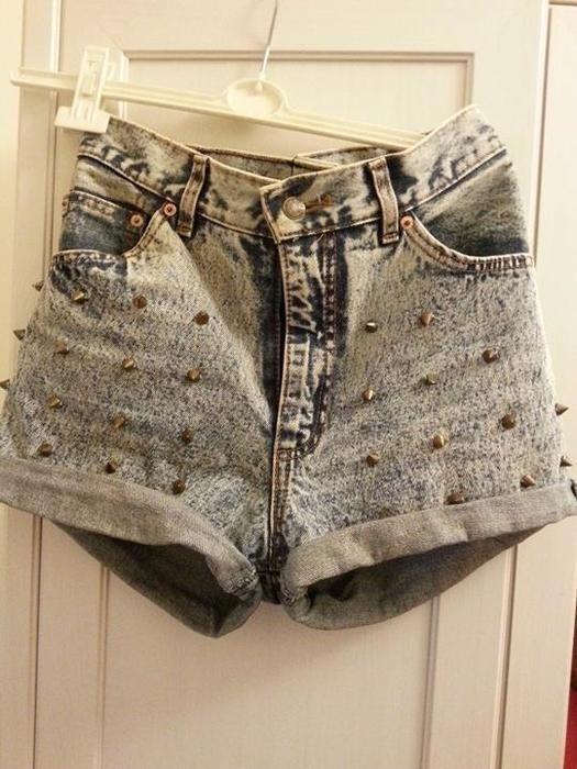 Spodenki jeansowe spodenki wysoki stan dżety ćwieki