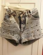 jeansowe spodenki wysoki stan dżety ćwieki